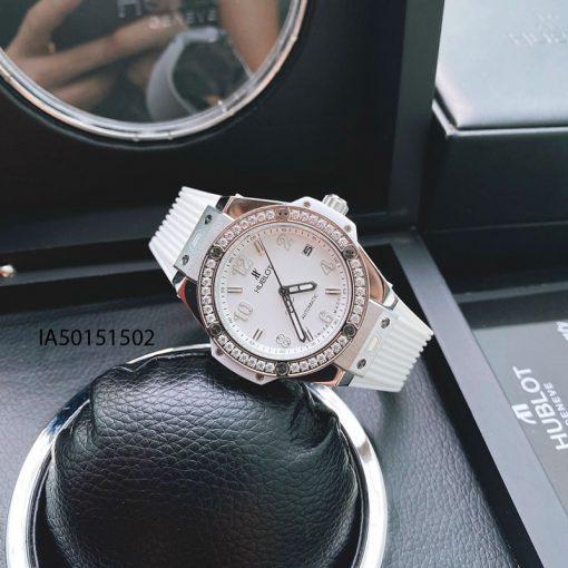 Đồng hồ hublot nữ dây màu trắng viền đính kim cương