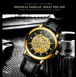 Đồng hồ Nam Tevise máy cơ Automatic mặt vàng dây da giá rẻ