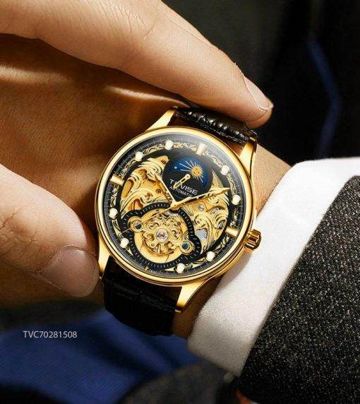 Đồng hồ Tevise nam máy cơ Automatic dây da giá rẻ