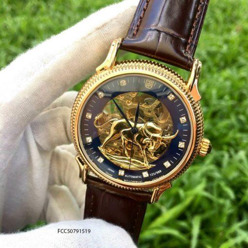 Đồng hồ FC cơ Automatic nam lộ máy mặt hình trâu mạ vàng cực đẹp