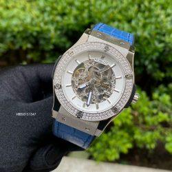 Đồng hồ Hublot Nam đính đá máy cơ dây cao su bọc da màu xanh cao cấp