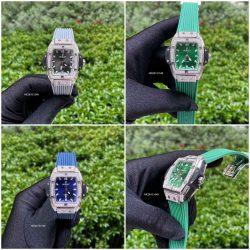 Đồng hồ nữ Hublot Senna Champin 88 đính đá màu xanh xám