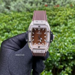 Đồng hồ Hublot Nữ Senna Champin 88 viền đính full đá dây cao su nâu tím