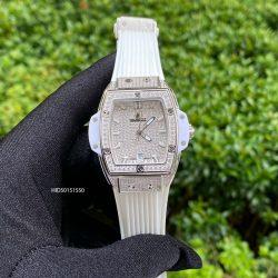 Đồng hồ nữ Hublot Senna Champin 88 mặt đính full đá dây mà trắng cao cấp