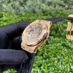Đồng hồ Hublot nam máy cơ lộ máy viền đính đá cao cấp