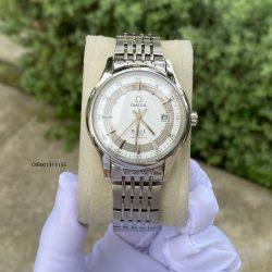 Đồng hồ nam Omega De Ville cơ lộ máy dây thép không gỉ cao cấp