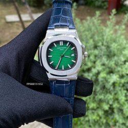 Đồng hồ nam Patek Philippe máy cơ tự động dây da màu xanh cao cấp